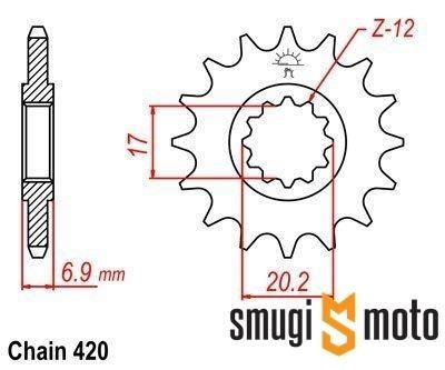 Zębatka przednia JT [420], Minarelli AM6 (różne rozmiary)