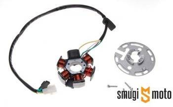 Stator / iskrownik WM, Derbi Senda / Minarelli AM, 6 cewek, 3 przewody, kostka 2 pin