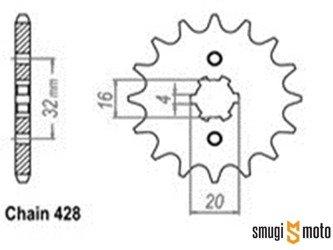 Zębatka przednia Sunstar [428] 14z, Betamotor 125, Husqvarna 125, Motor Hispania, Rieju 125, Yamaha 125