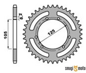 Zębatka tylna PBR [420], Derbi Senda / Aprilia RX / Peugeot XP6 (105mm) (różne rozmiary)