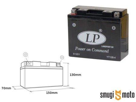 Akumulator Landport, YT12B-4 12V 11AH 151x70x130, bezobsługowy (zalany) + Kaucja
