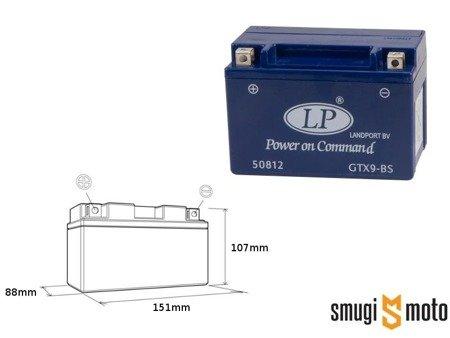 Akumulator żelowy Landport GTX9-4, 12V 8AH 151x88x107, bezobsługowy + kaucja za stary akumulator