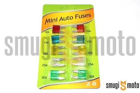 Bezpieczniki samochodowe MINI, zestaw 10 szt.