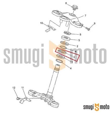 Bieżnia łożyska główki ramy, środkowa, Yamaha TZR 50 '03-12