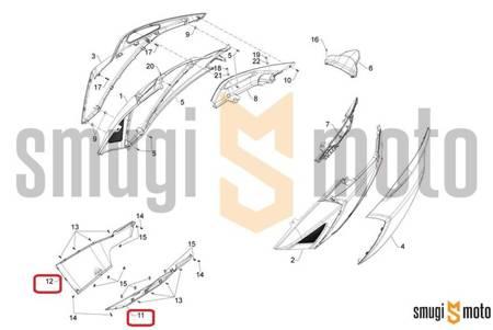 Pług / połówka pługu, Aprilia SRV 850 '12-13, czarny mat lakierowany (prawy / lewy)