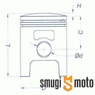 Tłok kompletny Meteor, Stage6 / Hebo / Polini, d.47,60mm, Piaggio / Peugeot (różne selekcje)