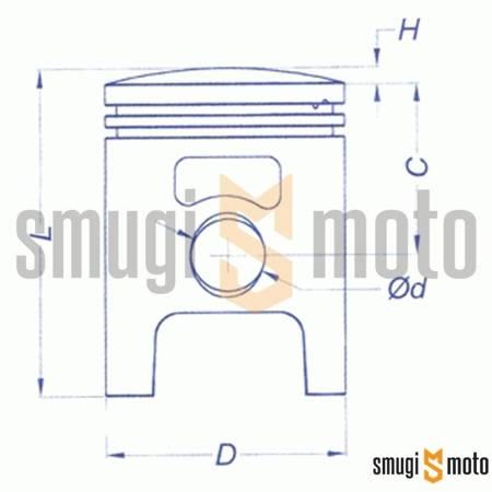 Tłok kompletny Vertex, Stage6 / Hebo / Polini 47,60mm, sworzeń 12mm (różne selekcje)